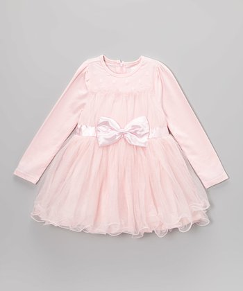 Pink Bow Skirted Dress - Toddler & Girls