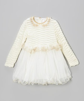 White Sequin Peter Pan Dress - Toddler & Girls