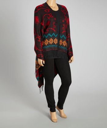 Black & Red Silk-Pashmina Blend Poncho - Plus