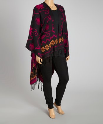 Black & Pink Silk-Pashmina Blend Poncho - Plus