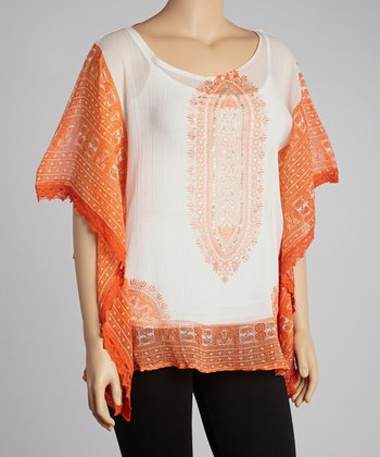 White & Orange Tapestry Tunic - Plus