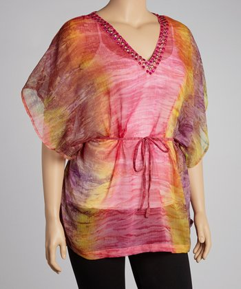 Fuchsia Dip-Dye Sheer Cape-Sleeve Tunic - Plus