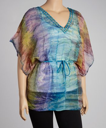Turquoise Dip-Dye Sheer Cape-Sleeve Tunic - Plus