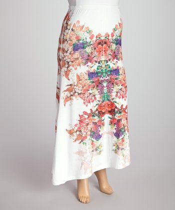 White Floral Kaleidoscope Maxi Skirt - Plus