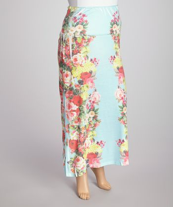 Blue Floral Sublimation Maxi Skirt - Plus