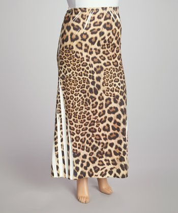 Brown Leopard Sublimation Maxi Skirt - Plus