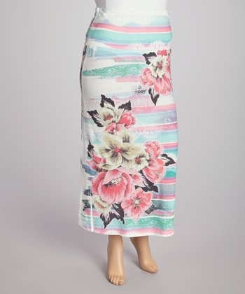 Mint & Pink Tropical Floral Maxi Skirt - Plus