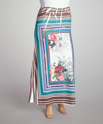 Navy Floral Square Sublimation Maxi Skirt - Plus