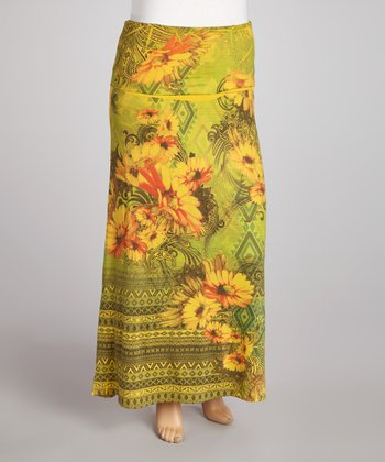 Mustard Floral Sublimation Maxi Skirt - Plus