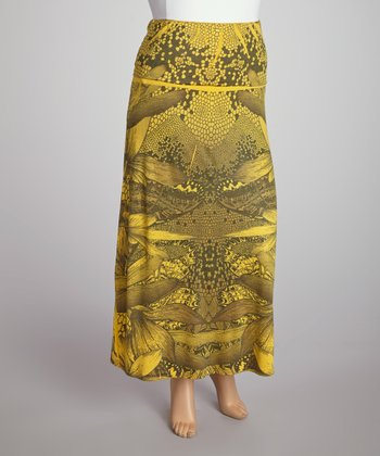 Mustard Abstract Geometric Sublimation Maxi Skirt - Plus