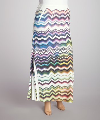 Rainbow Zigzag Sublimation Maxi Skirt - Plus