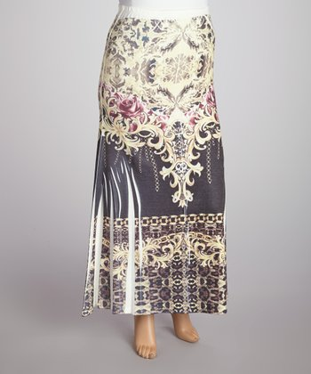 Yellow Chain Sublimation Maxi Skirt - Plus