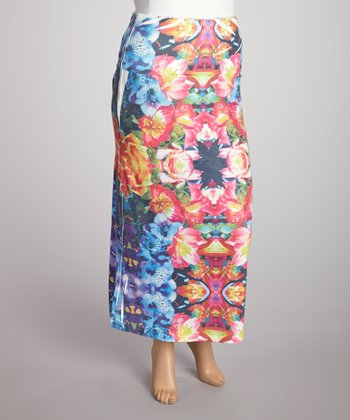 Blue Hibiscus Sublimation Maxi Skirt - Plus