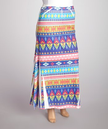 Blue & Green Tribal Sublimation Maxi Skirt - Plus
