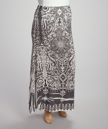 Black & Ivory Medallion Sublimation Maxi Skirt - Plus