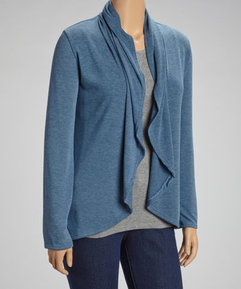 Blue Open Cardigan - Plus