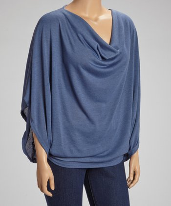 Slate Blue Drape Top - Plus