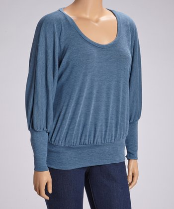 Teal Scoop Neck Dolman Top - Plus