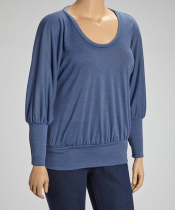 Slate Blue Scoop Neck Dolman Top - Plus