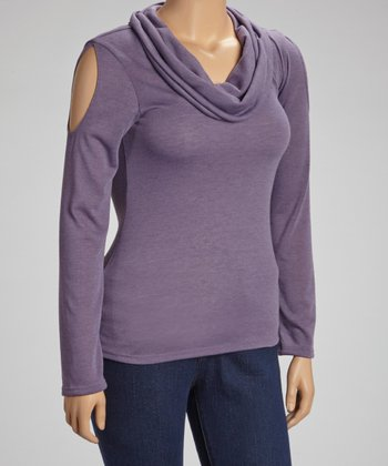 Purple Cutout Cowl Neck Top - Plus