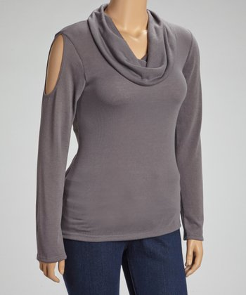 Gray Cutout Cowl Neck Top - Plus
