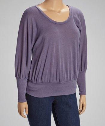 Purple Scoop Neck Dolman Top - Plus