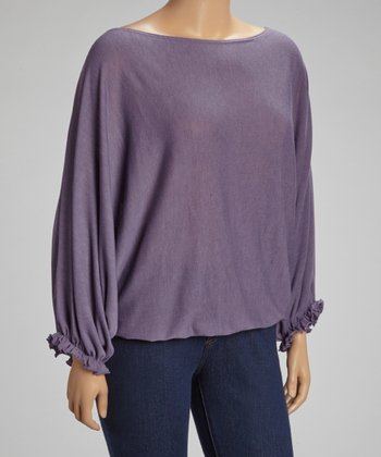 Purple Ruffle Boatneck Top - Plus