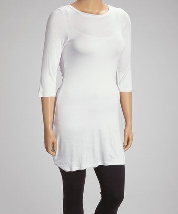 White Three-Quarter Sleeve Tunic - Plus