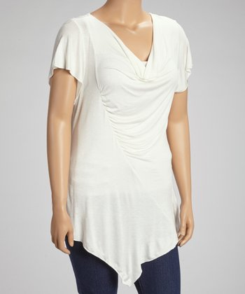 White Short-Sleeve Ruched Drape Top - Plus