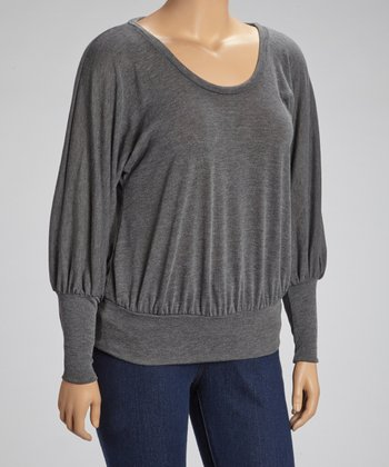 Heather Charcoal Scoop Neck Dolman Top - Plus