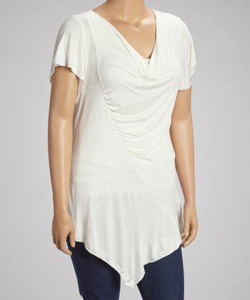 White Cutout Drape Top - Plus
