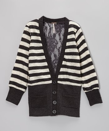 Charcoal & Oatmeal Stripe Cardigan