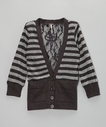 Charcoal & Heather Gray Stripe Cardigan