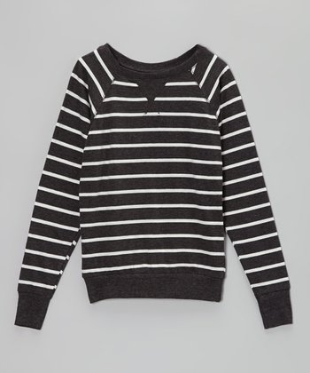 Charcoal Gray & Egg White Stripe Sweater