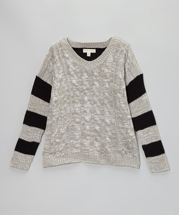 Gray & Black Stripe Cable-Knit Sweater