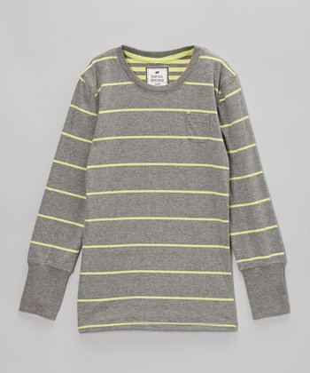 Gray & Yellow Stripe Tee