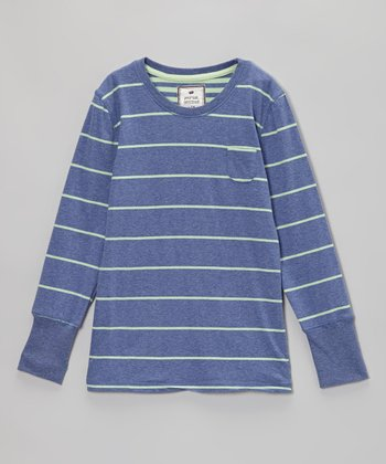 Blue Heather & Fusion Green Stripe Tee