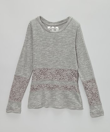 Medium Heather Gray Lace Top
