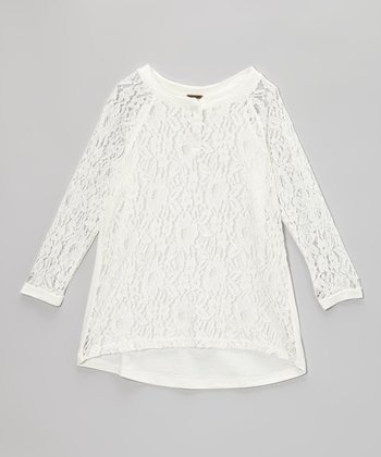 Egg White Lace Hi-Lo Top
