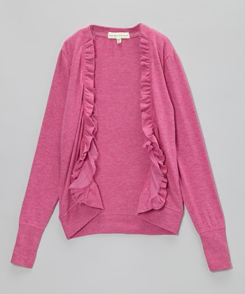 New Pink Heather Ruffle Open Cardigan