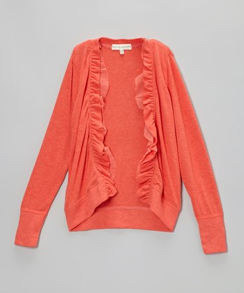 New Coral Heather Ruffle Open Cardigan