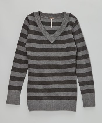 Charcoal Heather Stripe V-Neck Sweater