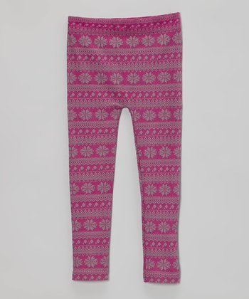 Raspberry Fair Isle Leggings