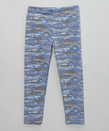 Blue Combo Camo Legging - Girls