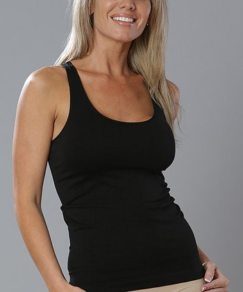 Black Seamless Racerback Tank - Women