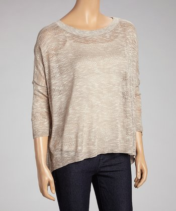 Taupe Stripe Hi-Low Dolman Sweater