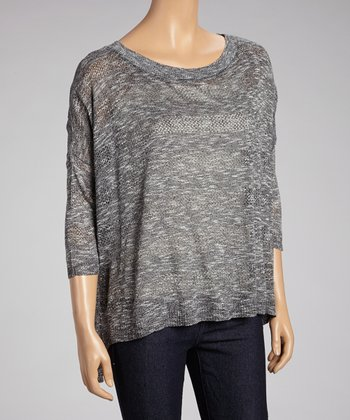 Gray Stripe Hi-Low Dolman Sweater