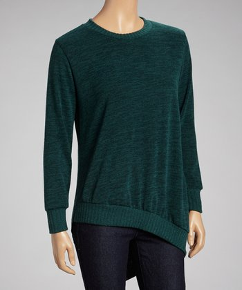 Forest Green Asymmetrical Hem Hi-Low Tunic