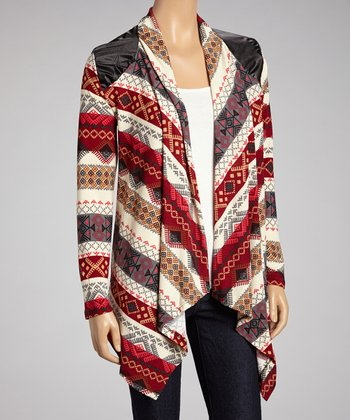 Red & Tan Aztec Faux Leather Panel Open-Cardigan