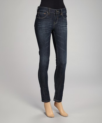 Blue Stone Wash Five-Pocket Bootcut Jeans